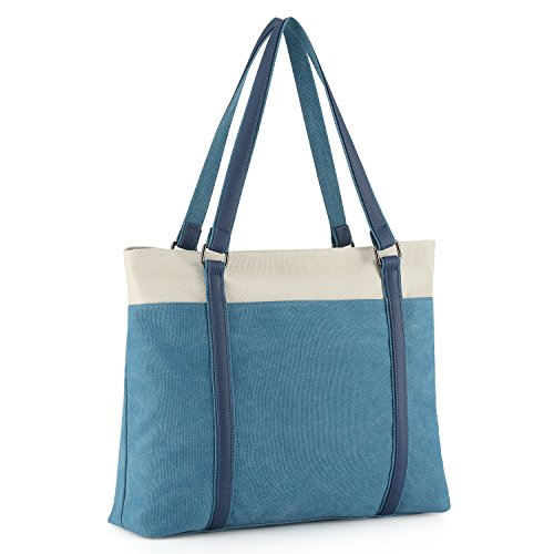 "Plambag Canvas Laptop Tote Bag 15.6"" Work Shopper Shoulder Handbag for Women (Blue)"