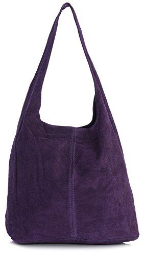 LIATALIA - Large sac à main style cabas/hobo/slouch pour femme en suède italienporté épaule - 'Shay'(Rouge sombre) Prune