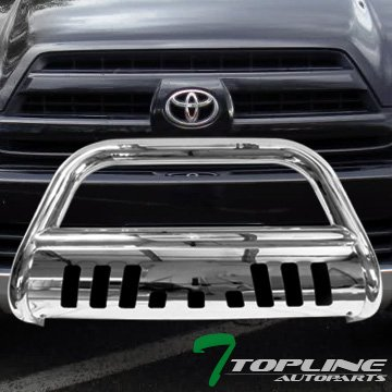Topline Autopart Polished Stainless Steel Bull Bar Brush Push Front Bumper Grill Grille Guard With Skid Plate For 03-09 Toyota 4Runner ; Lexus (Lexus Grill Guard)