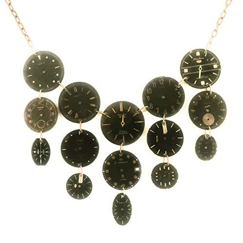 Vintage Watch-face Necklace in Black and Gold