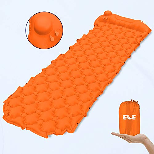 AIELE Camping Sleeping Pad,Hand Press Inflating Mat, air Pump Pad,Portable Bed Mat for Travel, Attached Pillow