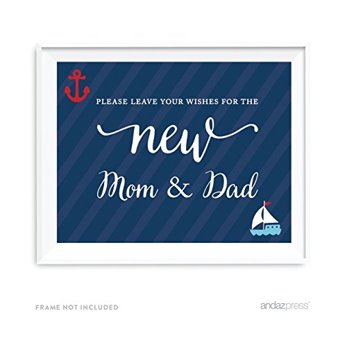 Andaz Press Nautical Collection, Please Leave Your Wishes for the New Mom & Dad Guestbook Sign, 8.5x11-inch, 1-pack, For Ocean Sailor Inspired Birthday, Baby Bridal Shower, Baptism