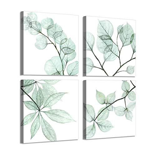 Leaf Botanical Prints Wall Art: Summer Floral Twig in olivedrab Color Pictures Art Print on Canvas for Bathroom (16