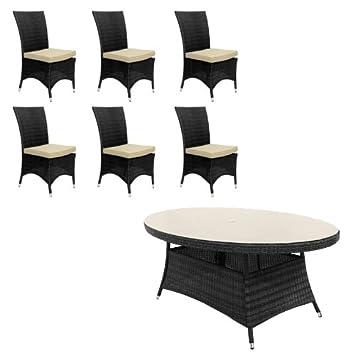 Belle mimbre al aire libre muebles de jardín Ashdown 6 asiento 1, 8 ...
