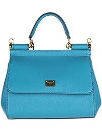Dolce&Gabbana women's leather handbag shopping bag purse sicily dauphine blu