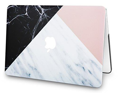 "KECC Laptop Case for MacBook Air 13"" w/Keyboard Cover Plastic Hard Shell Case A1466/A1369 2 in 1 Bundle (White Marble with Pink Black)"