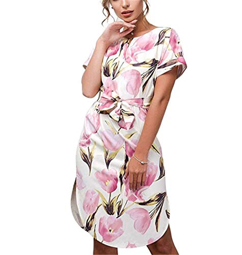 LitBud Womens Dresses Summer Short Sleeve Vintage Business Holiday Belted Shift Midi Tunic Dress for Ladies Floral Pink Size 6 8 M
