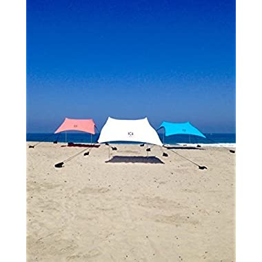 Neso Tents Beach Tent with Sand Anchor, Portable Canopy Sun Shelter, 7 x 7ft - Patented Reinforced Corners - Teal