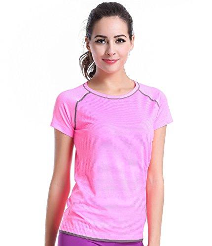 Mujeres Qutool ocio camiseta entrenamiento camiseta deportiva Yoga camiseta 2Pink