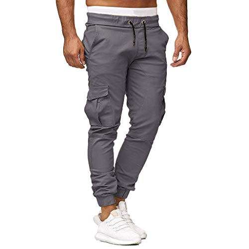 WOCACHI Mens Cargo Sweatpants Elastic Jogger Pants Leggings Sport Solid Baggy Slacks Casual Pockets Trousers 2020 Summer New Deals Under 10 Dollars Boyfriend Gift Gym Fitness Drawstring