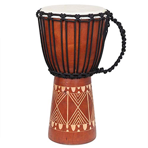 (X8 Drums Djembe Drum with Lessons 8.5 Inch Rope Tuned X8-DJ-GRV)