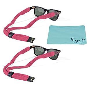 Croakies Kids Cotton Suiter Eyewear Retainer Childrens Glasses Strap | Adjustable Eyeglass and Sunglass Holder | Boys and Girls Sports Use | 2pk Bundle + Cloth, Pink