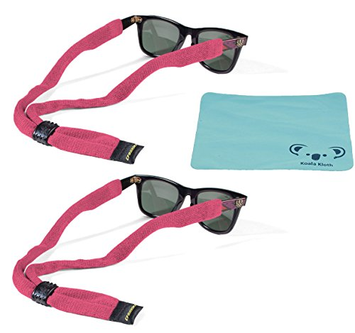 Croakies Kids Cotton Suiter Eyewear Retainer Childrens Glasses Strap | Adjustable Eyeglass and Sunglass Holder | Boys and Girls Sports Use | 2pk Bundle + Cloth, Pink