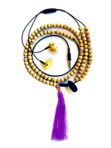 Price comparison product image Organic Affinity Omphones Positive Energy Mala Earbud Headphones - 108 Sandalwood Mala Beads - Noise Cancelling & Smartphone Compatible with Storage Pouch - Lavender Tassel