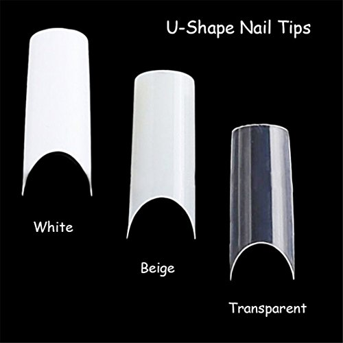 (100Pcs Nail Art U-Shape Half Cover French Manicure False Nail Tips Fake Nails Artificial Nails Beauty Products Transparent)