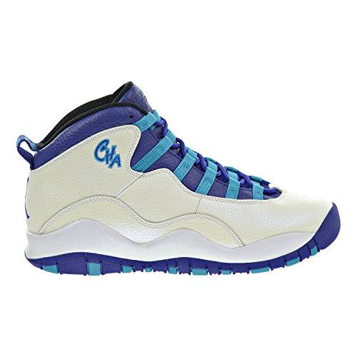 Air Jordan 10 Retro BG ''CHARLOTTE'' Big Kid's Shoes White/Concord/Blue Lagoon/Black 310806-107 (7 M US) by Jordan