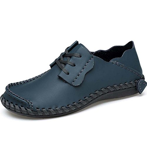 Pump Business Casual Chaussures en cuir Slip on Loafer Hommes Retro Round Toe Pure Color British ShoeLace Plate Chaussures Chaussures de course Eu Taille 38-47 ( Color : Dark blue hollow , Size : 47 )