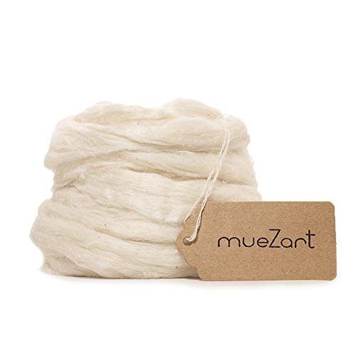 Muezart 100% Natural Eri Silk Sliver/roving | Natural Color Silk Fiber for Spinning, Blending, Felting.