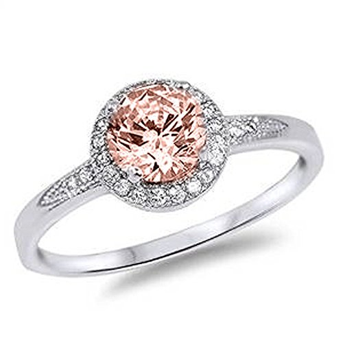 - Blue Apple Co. Halo Wedding Engagement Ring Round Simulated Morganite 925 Sterling Silver