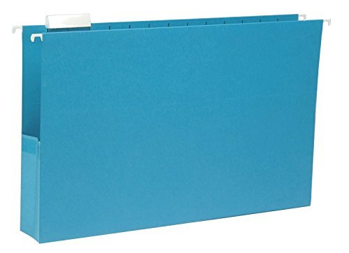 Smead Hanging File Pocket with Tab, 2'' Expansion, 1/5-Cut Adjustable Tab, Legal Size, Sky Blue, 25 per Box (64350) by Smead