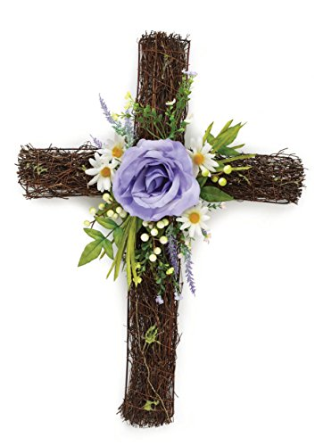 (One Holiday Lane Floral Cross Wreath Hanging Easter Decoration - Front Door Twig Wreath Spring Decoration (Purple))