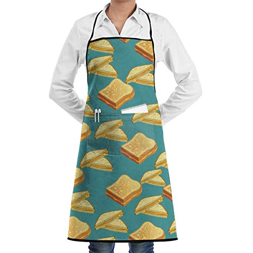 HIBIPPO Grilled Cheese Professional Bib Apron with 2 Pockets for Women Men Adults Waterproof