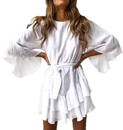 PRETTYGARDEN Women's Casual Solid Color O-Neck 3/4 Bell Sleeve Ruffle Swing A Line Mini Dress Sundress with Belt (White, Small)