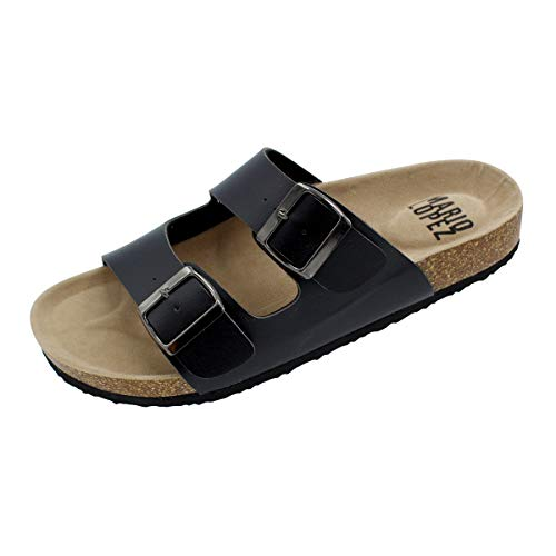 (Alexis Bendel Lloyd-05 Men Double Buckle Straps Sandals Flip Flop Platform Footbed Sandals Black)