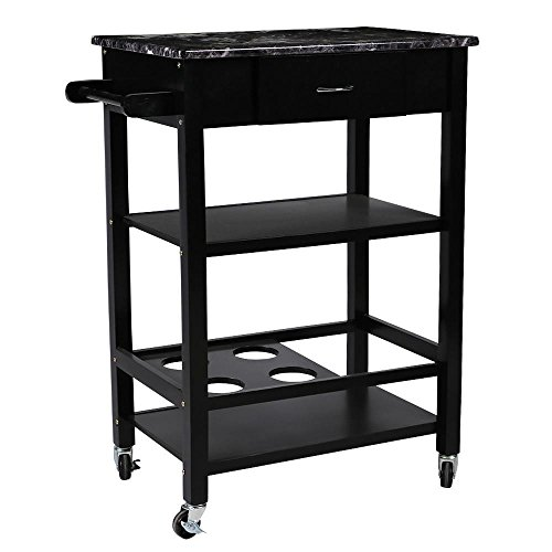 Yaheetech Kitchen Trolley Cart Rolling 3 Tiers Utility Storage Buffet Dining Restaurant Serving Stand W/Bar Wine Bottle Holder by Yaheetech
