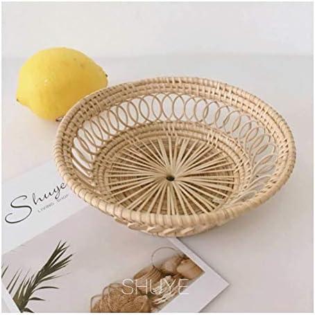 テーブルの上にディスプレイスタンド用の小さなフードサービスデスク受け皿丸籐の装飾フルーツの盛り合わせティートレイ (色 : Natural, サイズ : *1)