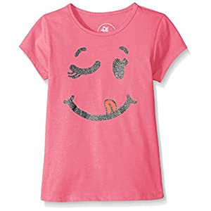 Dream Star Girls' Little S/s Glitter Smiley Screen Front and # Things to Be Happy About