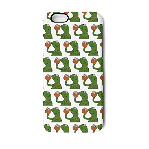 Frosted Black White Phone Case Back Cover for iPhone 7 and iPhone 8 Funny Green Frog Sipping Tea Stylish Non-Slip Matte 3D Print PC TPU Shockproof -