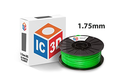 (IC3D Green 1.75mm ABS 3D Printer Filament - 1kg Spool - Dimensional Accuracy +/- 0.05mm - Professional Grade 3D Printing Filament - MADE IN USA )