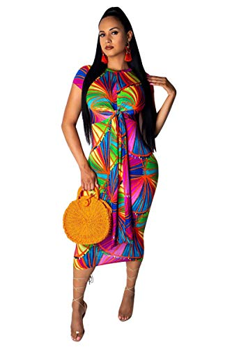 (Women's Bodycon Floral Midi Dress - Casual Sexy Tight Pencil Maxi Dress with Front Tie Bow Knot Rainbow2 L)