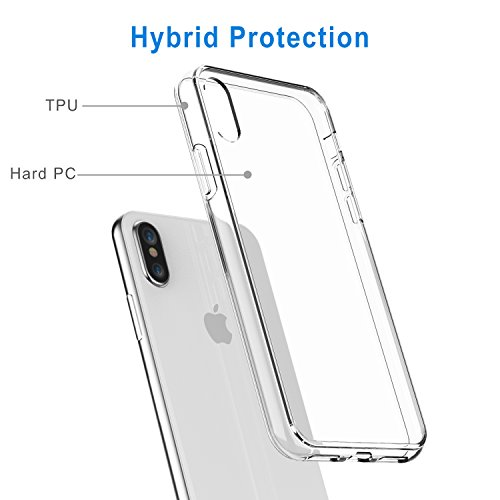 iPhone X Case, JETech Shock-Absorption Bumper Cover Anti-Scratch Clear Back for iPhone X/10 (HD Clear)
