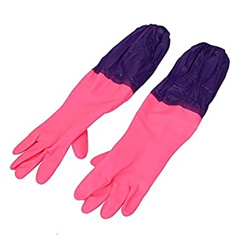 Everyday Desire Reusable Rubber Latex Household Kitchen Long Gloves, Free Size - for Laundry, Dish-Washing, Scrubbing Floors, Gardening Etc