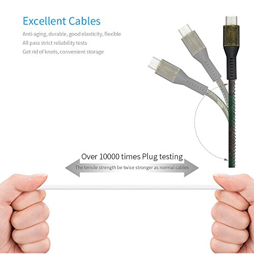 YIMODO USB C Cable USB C-A Fabric Craft Reversible Fast Charging Cables for Samsung Galaxy Note 8, S8, S8 Plus, Google Pixel, Nintendo Switch, Macbook, LG G6 G5 V30 V20 and More, 2 Pack (6FT + 6FT)
