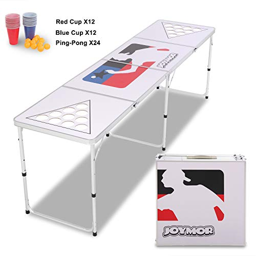 JOYMOR Beer Pong Table 8 FT for Drinking Games, Heavy Duty Foldable Party Pong Tables with 24 Cups & Ping-Pongs, Upgraded with Cup Holes Beer Pong Set for Adults (White)