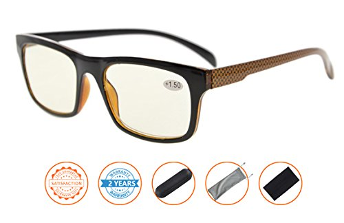 UV Protection,Anti Blue Rays,Reduce Eyestrain,Computer Reading Glasses(Brown Arm,Amber Tinted Lenses) - Arms Glasses Without Reading