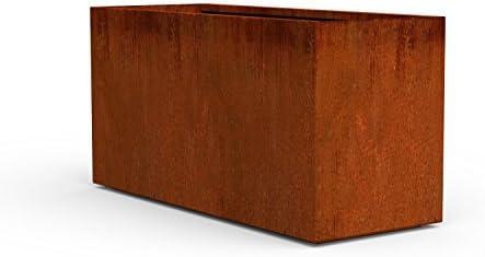 PLANTERCRAFT Corten Steel Planter, Long Rectangle Planter Box, 40 Length, 16 Width, 20 Height, Outdoor Metal Planter Trough, Rust, Heavy Duty Durable