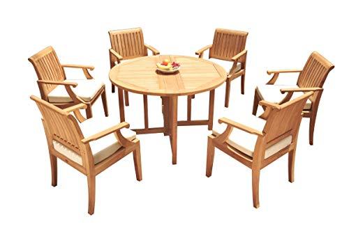 WholesaleTeakFurniture Grade-A Teak Wood 6 Seater 7 Pc Dining Set: 48