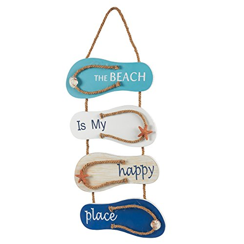 Juvale Flip Flop Wall Ornament, Slippers Hanging Decoration with Beach Design, Ocean Decorfor Living Room, Bedroom, and Dining Room, 8.75 x 3.75 x 3 -