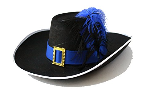 Halloween Party Puss in Boots Hat Adults and Kids Black/Blue Feather G0433 ()