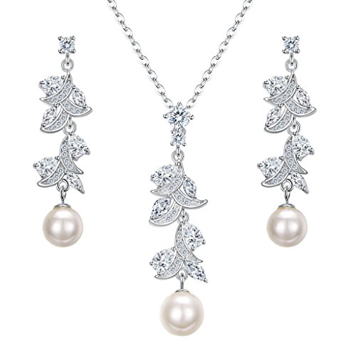 EleQueen 925 Sterling Silver CZ Cream Freshwater Cultured Pearl Leaf Bridal Pendant Necklace Chandelier Drop Earrings Set (Ivory Leaf Chandelier)