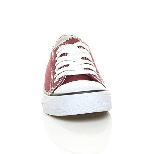 Foncé Sneakers Chaussures Sport Femmes Pointure De Plat Baskets Rouge Plimsolls Tennis Lacer 4wqnP8F