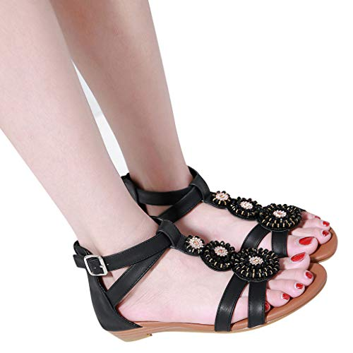 Womens Bohemia Sandals, Summer Beach Ankle Buckle Flat Shoes Fashion Comfort Walking Shoes ❤️Sumeimiya Black