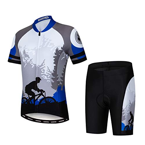Children Boys' Girls' Cycling Jersey Set Short Sleeve 3D Padded Shorts Gray Blue Size M