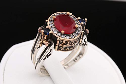 Turkish Handmade Jewelry Reversible Oval Shape Sapphire Ruby Round Cut White Topaz 925 Sterling Silver Ring Size All