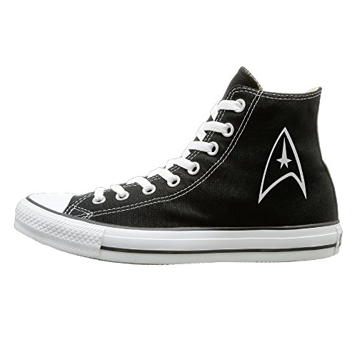 Candyy Star Trek Badge Logo Wear-resisting Unisex Flat Canvas High Top Sneaker 42 Black