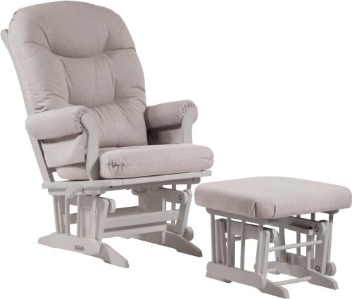 Dutailier Sleigh Glider-Multi-Position Recline and Nursing Ottoman Combo, White/Light Grey